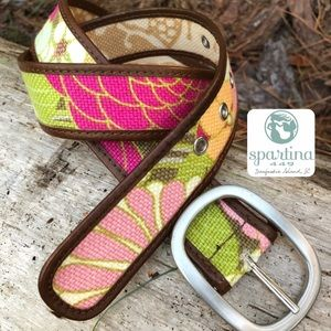 Spartina 449 Camilla Pink Cream Linen Leather Belt